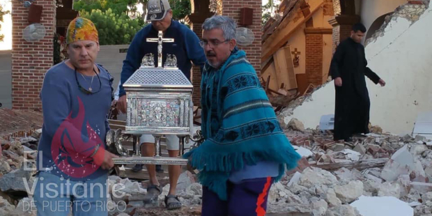 Earthquake leaves tabernacle standing in Puerto Rican Catholic church